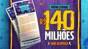 QUINA DE SÃO JOÃO: COM PRÊMIO DE R$ 140 MILHÕES, APOSTAS VÃO COMEÇAR NESTA SEGUNDA