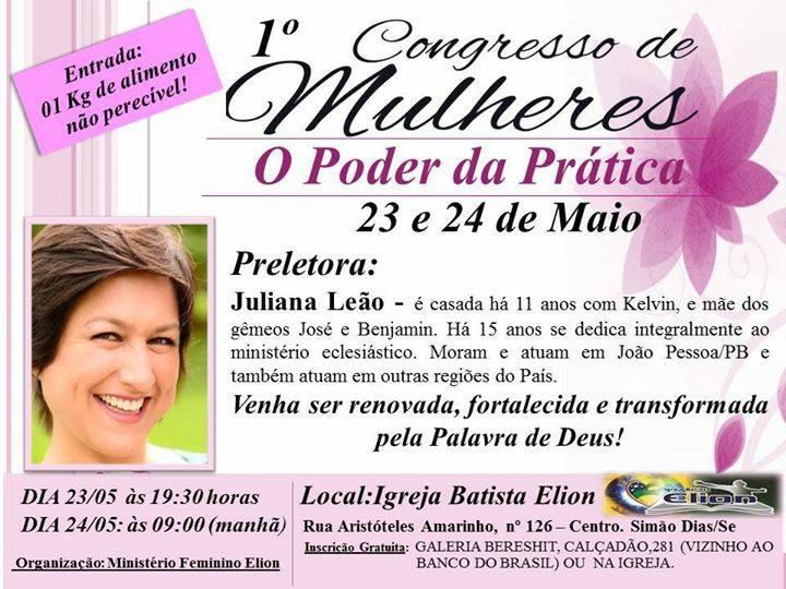 IGREJA ELION DE SIMÃO DIAS PROMOVE O 1º CONGRESSO DE MULHERES