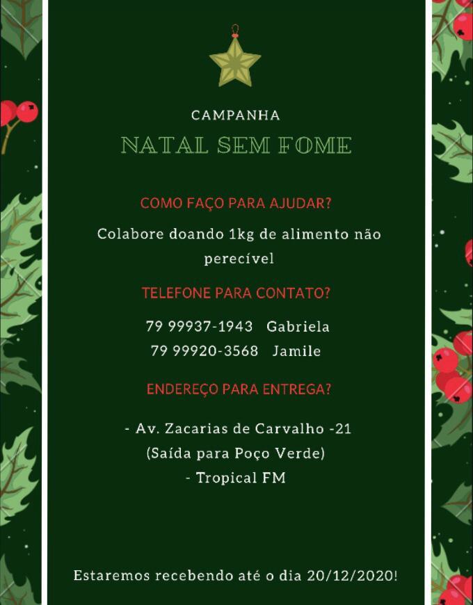 """SIMÃO DIAS: DOE ALIMENTOS E PARTICIPE DA CAMPANHA """"NATAL SEM FOME"""""""