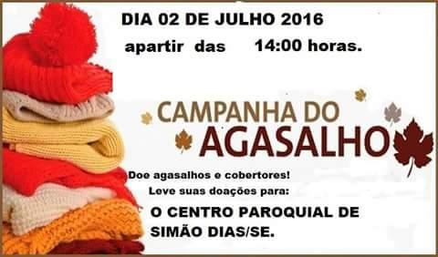 DIA 2 DE JULHO, PARTICIPE DA CAMPANHA DO AGASALHO NA CASA PAROQUIAL DE SIMÃO DIAS