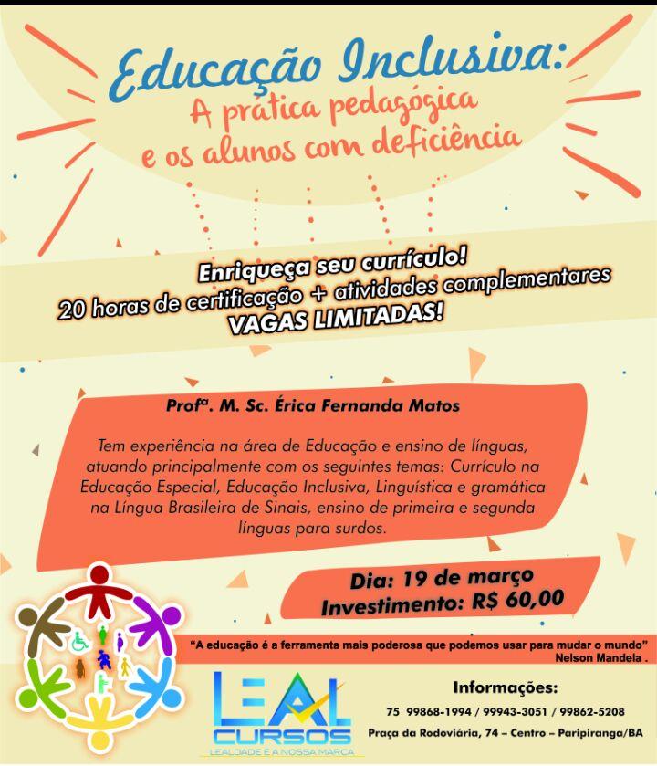 ENRIQUEÇA SEU CURRÍCULO: EDUCAÇÃO INCLUSIVA! VAGAS LIMITADAS
