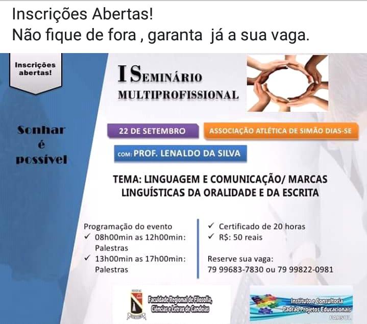 DIA 22 DE SETEMBRO, HAVERÁ PRIMEIRO SEMINÁRIO INTERPROFISSIONAL, INSCREVA-SE