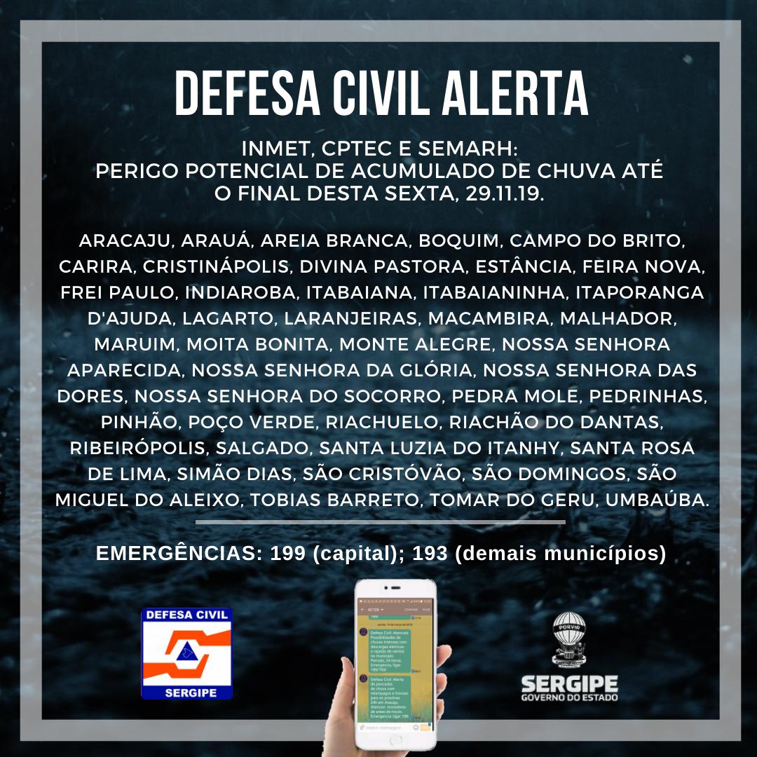 SERGIPE: DEFESA CIVIL ESTADUAL INDICA PREVISÃO DE CHUVAS ATÉ SEXTA, 29