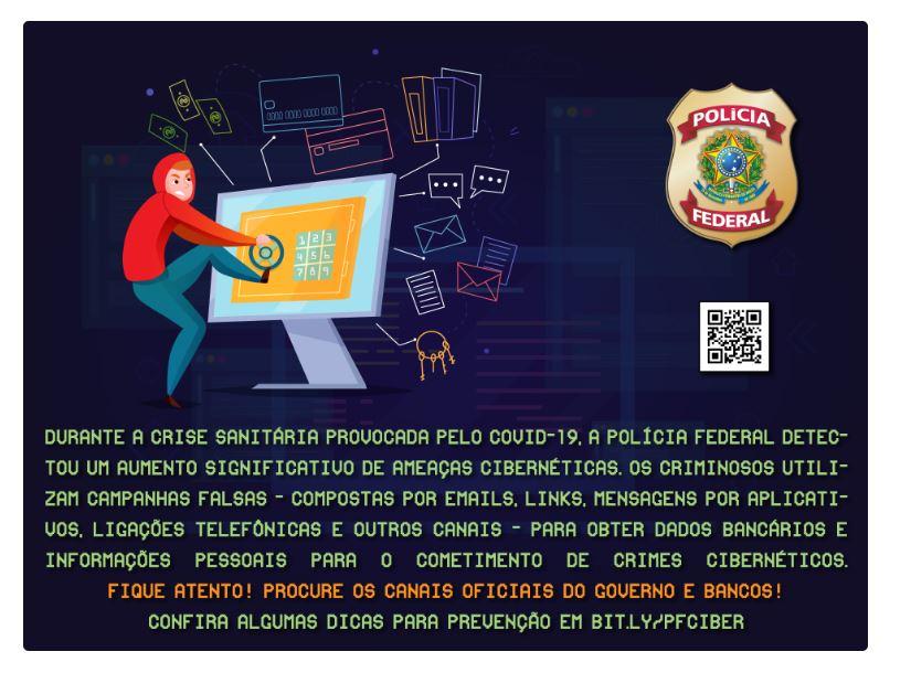 CORONAVÍRUS: POLÍCIA FEDERAL ALERTA PARA AMEAÇAS CIBERNÉTICAS
