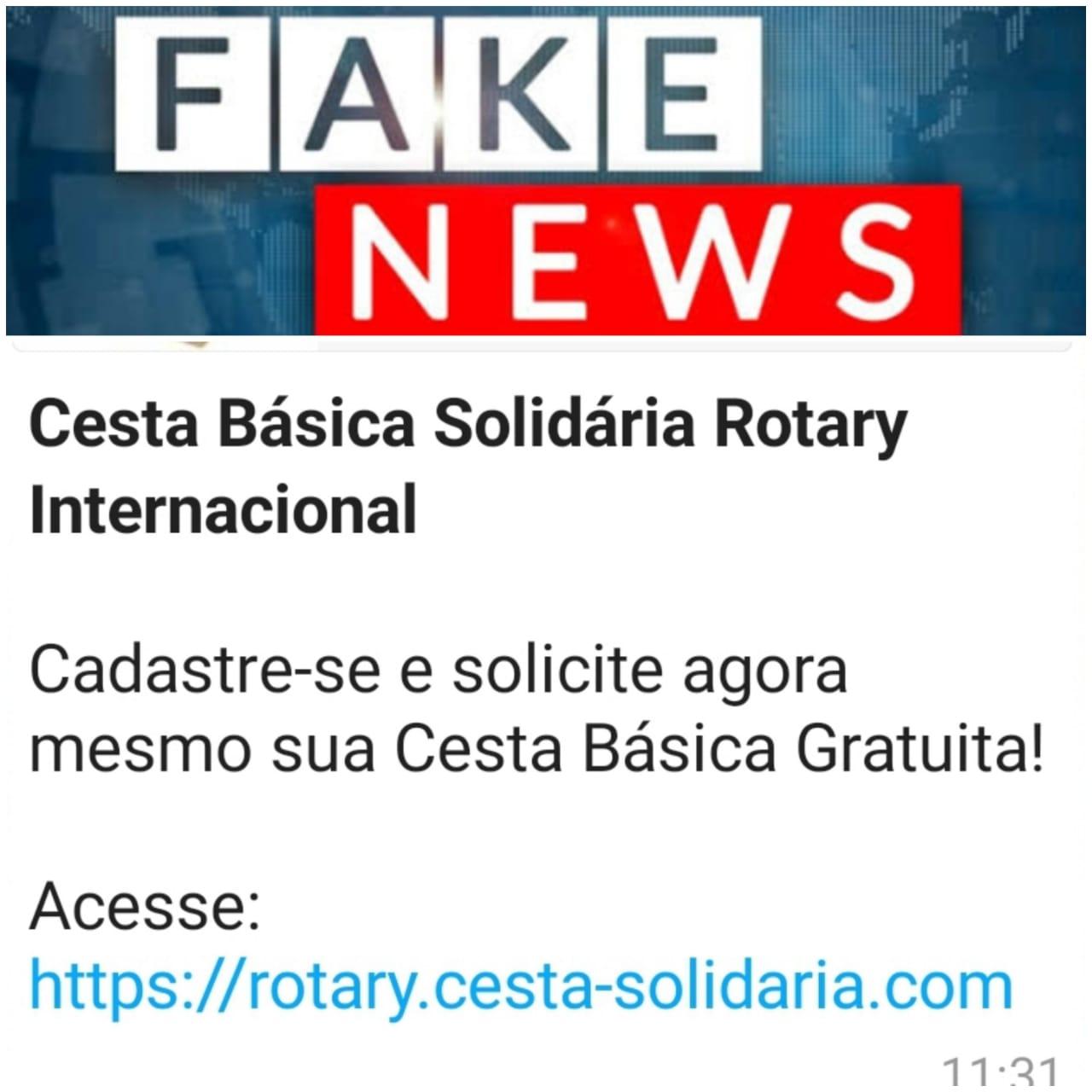 GOLPE: POSTAGEM USANDO O NOME DO ROTARY EM ENTREGA DE CESTA BÁSICA É FAKE NEWS
