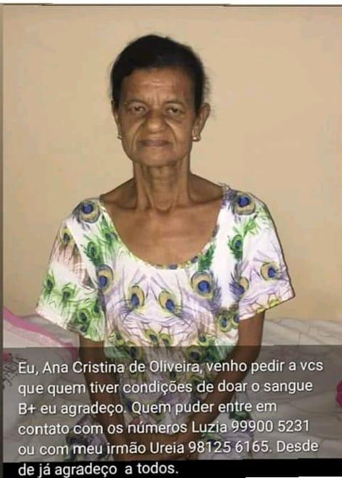 SIMÃO DIAS: CIDADÃ PRECISA DE DOAÇÃO DE SANGUE B+