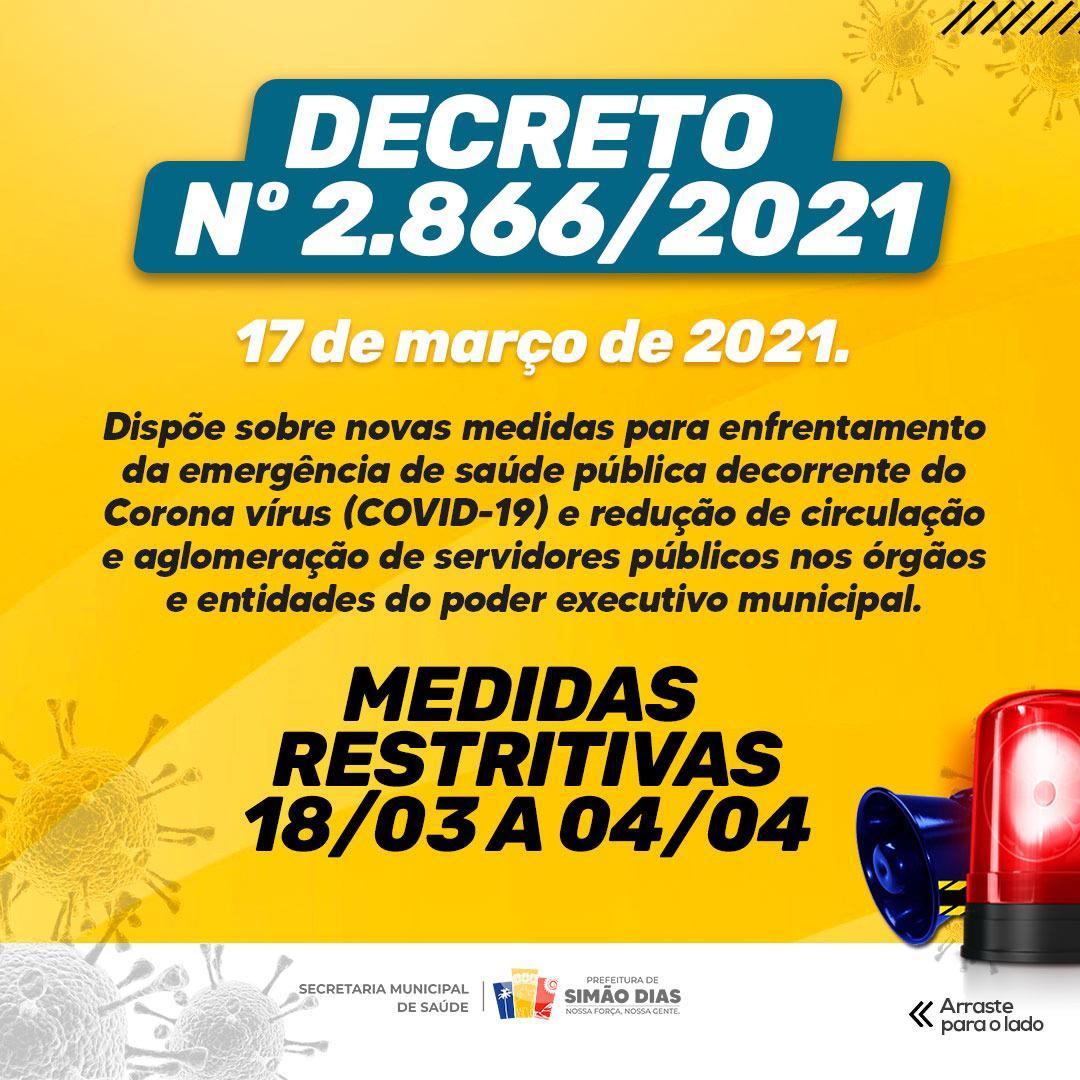 SIMÃO DIAS: PREFEITURA EMITE NOVO DECRETO COM MEDIDAS RESTRITIVAS DE COMBATE AO COVID-19