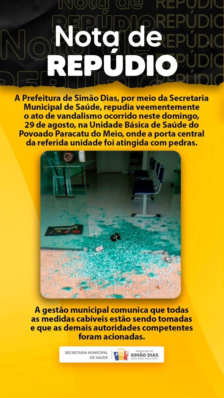 SIMÃO DIAS: PREFEITURA EMITE NOTA DE REPÚDIO POR ATO DE VANDALISMO